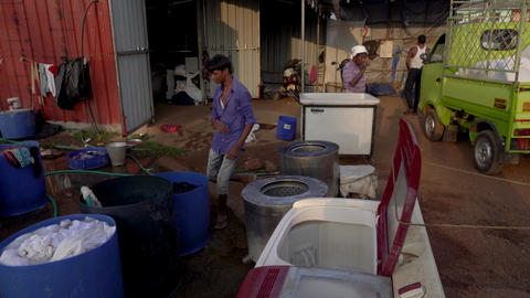 people work in the laundry on the street Footage
