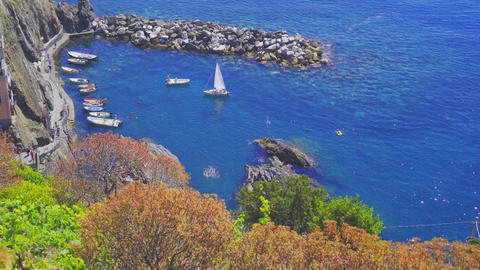 Beautiful cozy bay with boats and clear turquoise water in Italy, Europe Live Action