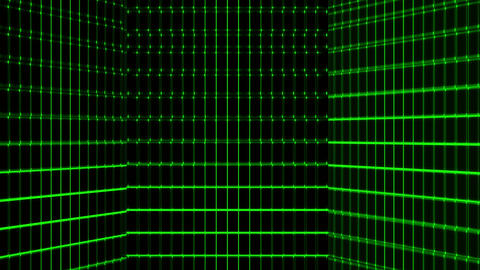 Vertical green retro-futuristic 80s synthwave grid background. Seamless loop technology background Animation