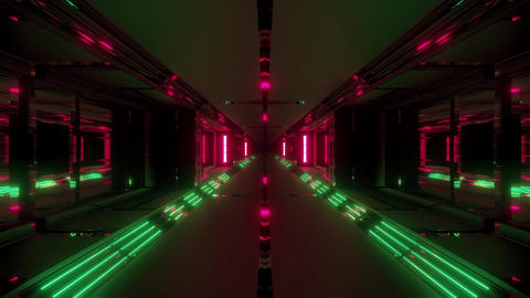 futuristic sci-fi tunnel corridor with cool nice reflection 3d rendering motion Animation