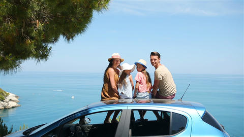 Summer car trip and young family on vacation Footage