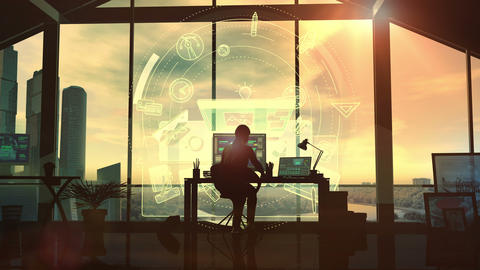 In the office, the silhouette of a female designer at the desk Animation