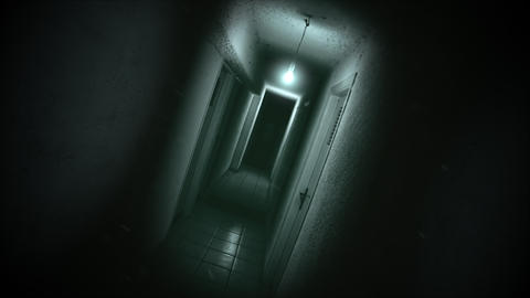 Mystical horror background with dark hall of room Animation