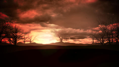 Mystical animation halloween background with dark clouds and mountains Animation