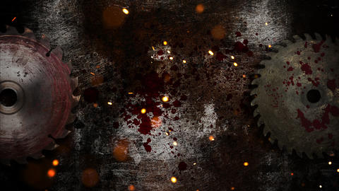 Mystical horror background with electric saw and dark blood Animation