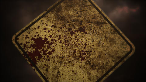 Mystical horror background with road sign and dark blood Animation