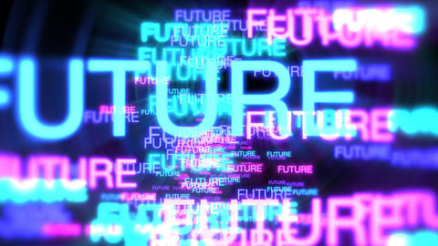 Motion of neon text Future in dark background Videos animados