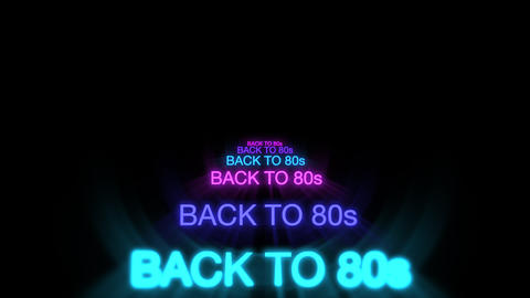 Motion of neon text Back to 80s in dark background Videos animados