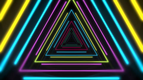 Motion colorful neon triangles, abstract background Videos animados