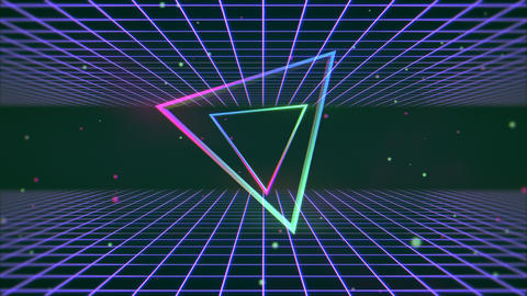 Motion retro colorful triangle and blue lines abstract background Videos animados