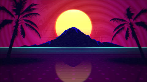 Motion summer background, retro abstract rid and mountain Videos animados