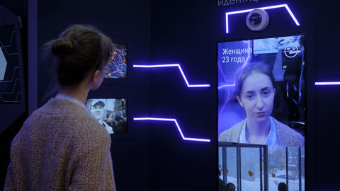 Facial recognition system concept - personal face identification software Live Action