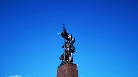 Monument on the Central square of the city against the blue sky Footage