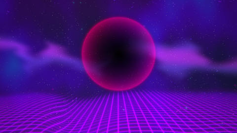 Motion retro red sphere and grid, abstract background with noise and distortion Videos animados