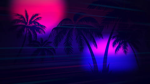 Motion retro summer abstract background, palm trees in night Videos animados