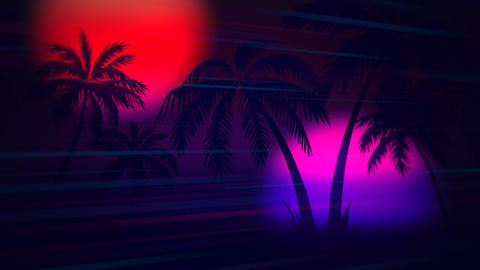 Motion retro summer abstract background, palm trees in night Animation