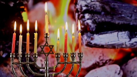Jewish holiday Hanukkah with menorah traditional burning…, Live Action
