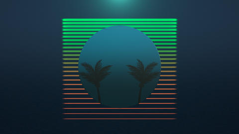Motion retro summer abstract background, palm trees in frame Videos animados