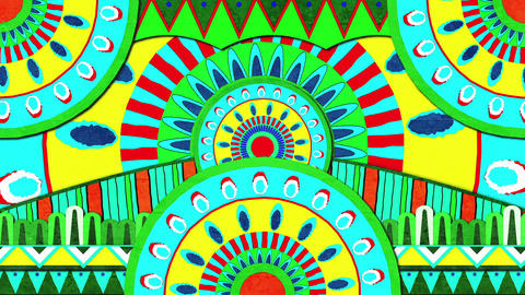 Colorful Composition Of Brightly Colored Patterns Moving In An Endless Loop Animation