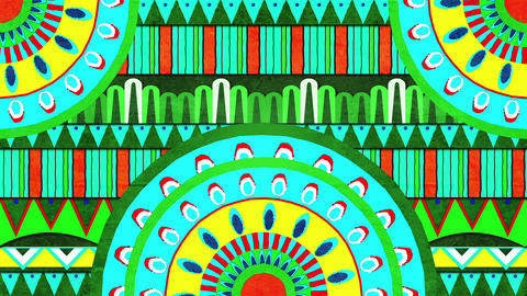 Green Yellow and Blue Pattern Designs Form An Abstract Moving Video Backdrop Animation