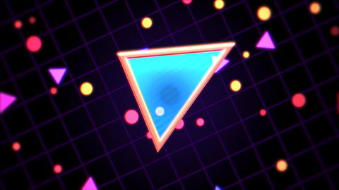 Motion retro triangle in space, abstract background with noise and distortion Videos animados