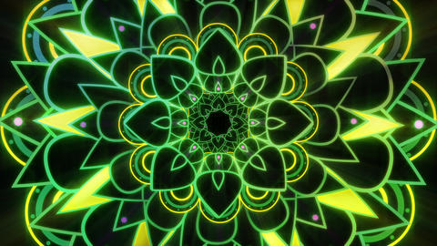 Brightly Colored Green Mandala VJ Style Looping Video Animation Animation