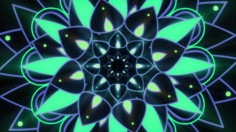Green And Blue Glowing Mandala Looping Video Background Animation