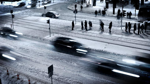 City Rush. Winter Scenery Footage