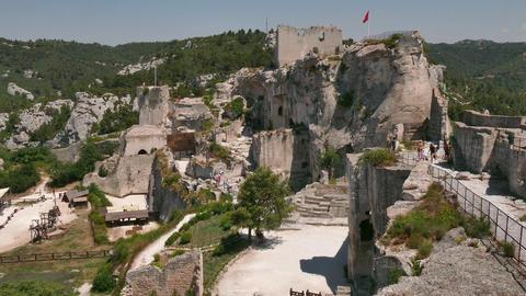 Castle French Monument In Les Baux De Provence France Footage