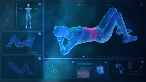 Computer x-raying human body Animation