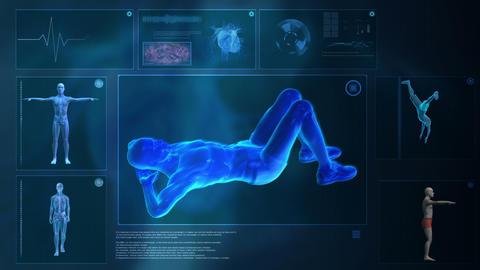 Computer x-raying human body Footage