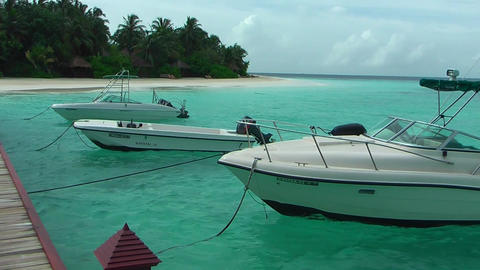 Boats parked on the pier - Maldives ビデオ