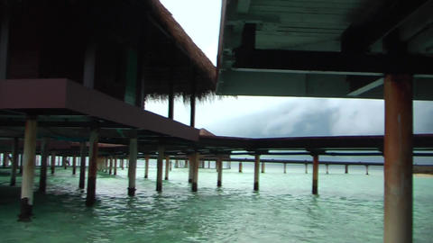 View from under the water bungalows Maldives Footage