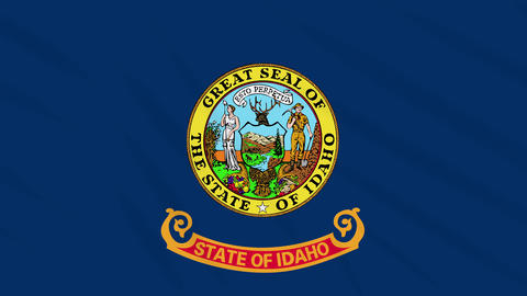 Idaho flag flutters in the wind, loop for background Animation