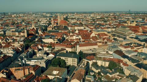 Aerial establishing shot of Munich, the capital of Bavaria. Germany Live Action