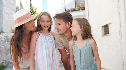 Family of parents and kids vacation in European vacation Live Action
