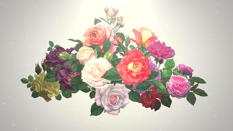 Closeup flowers, motion wedding background Animation
