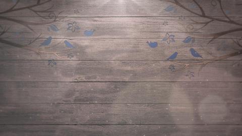Closeup motion birds on trees on wood, wedding background Animation