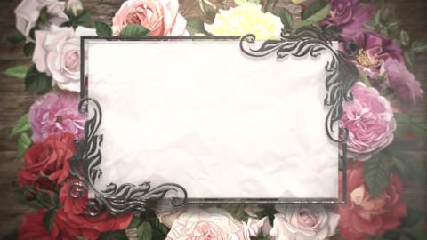Closeup vintage frame with flowers motion, wedding background CG動画