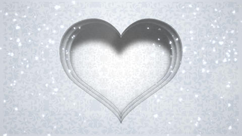 Closeup white hearts of love, wedding background Animation