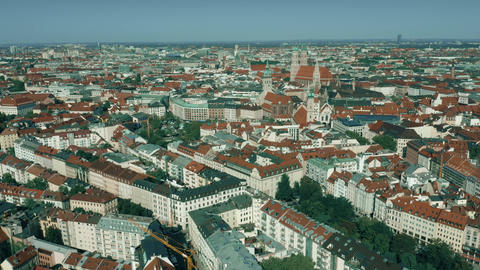 Aerial shot of Munich historic center, Germany Footage