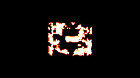 Symbol film burns out of transparency, then burns again. Alpha channel Premultiplied - Matted with Animation