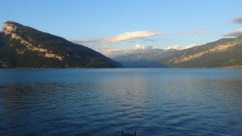 Time Lapse View Lake Thun And Swiss Alps In City Spiez, Switzerland Live Action