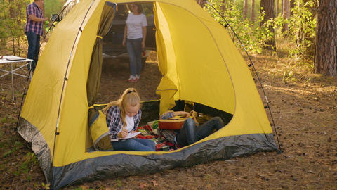 Girl teenager taking guitar from boy teenager inside camping tent. Teenager girl Footage