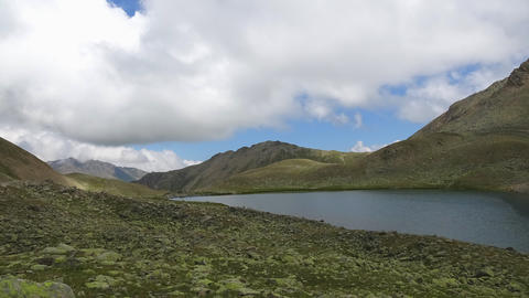 Time lapse lake scenes in mountains, national park Dombai, Caucasus, Russia Footage