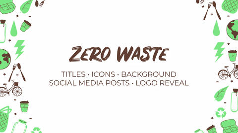 Zero Waste. Hand Drawn Pack Premiere Pro Template