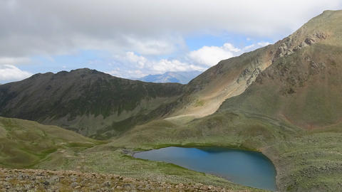 Timelapse lake scene in mountains, national park of Dombay, Caucasus, Russia Footage