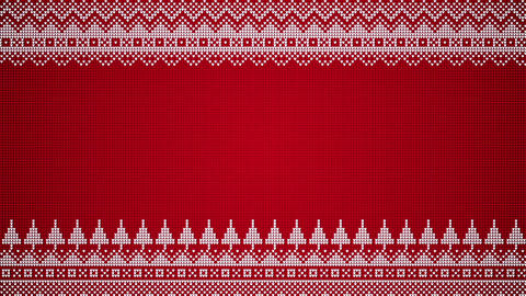 Knitted Style Christmas Background Red On White With Patterns And Trees Seamlessly Looping Animation