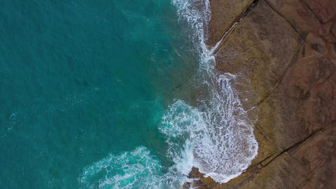 Top view of the desert stony coast on the Atlantic Ocean. Coast of the island of Live Action