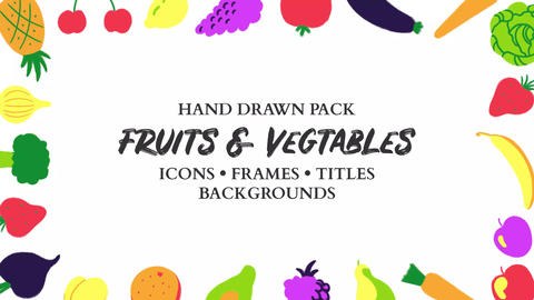 Fruits and Vegetables. Hand Drawn Pack Premiere Pro Template